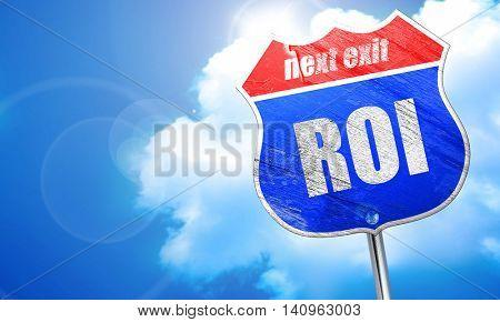 roi, 3D rendering, blue street sign