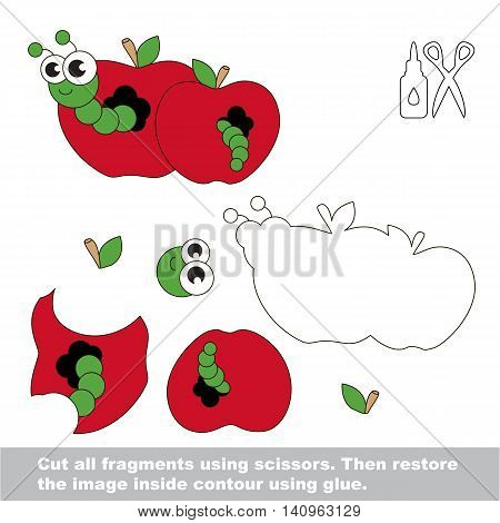 Use scissors and glue and restore the picture inside the contour. Easy educational paper game for kids. Simple kid application with Apple worm.