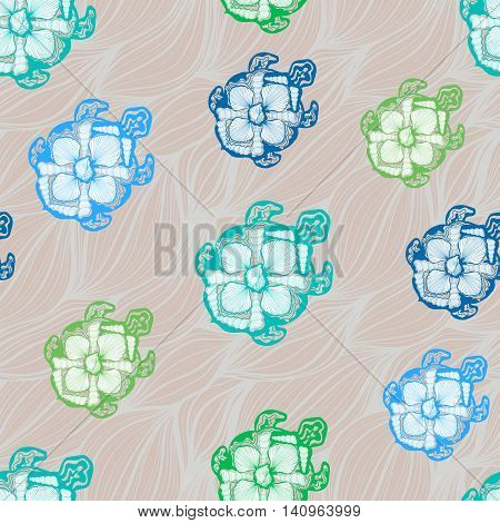 seamless pattern of decorative turtle against the backdrop of the sea waves