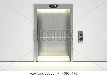 Modern elevator with opened doors 3D rendering