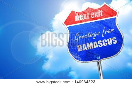 Greetings from damascus, 3D rendering, blue street sign
