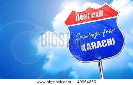 Greetings from karachi, 3D rendering, blue street sign
