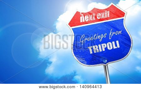 Greetings from tripoli, 3D rendering, blue street sign