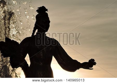 Statue silhouette. Taken at VDNH park in Moscow.