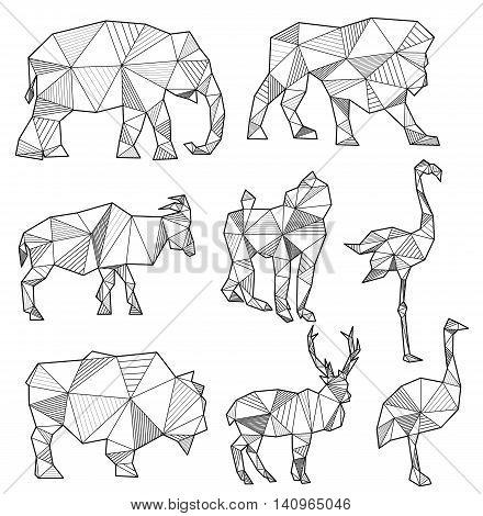 Vector Set Of Origami Animal Silhouettes Elephant Lion Goat Monkey Flamingo Bull Deer Ostrich