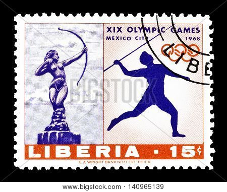 LIBERIA - CIRCA 1968 : Cancelled postage stamp printed by Liberia, that shows Javelin and Diana statue.