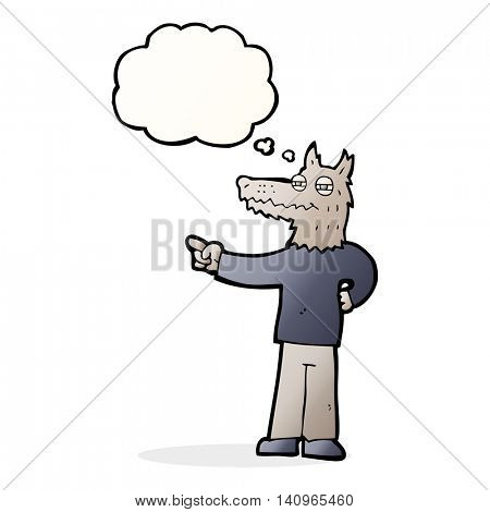 cartoon pointing wolf man with thought bubble