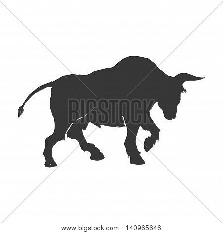 bull horn animal silhouette farm icon. Isolated and flat illustration. Vector graphic