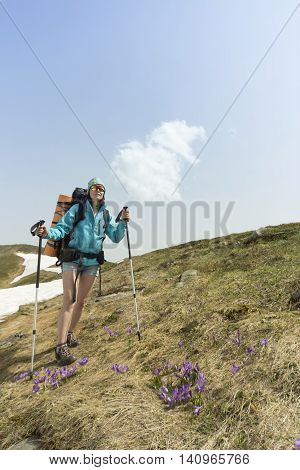 Hiking in the mountains in the summer on a sunny day.