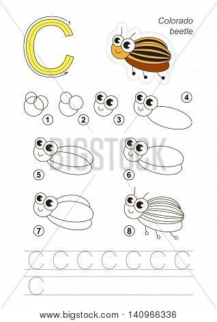 Complete vector illustrated alphabet with kid games. Learn handwriting. Easy educational kid game. Simple game level. Gaming and education. Drawing tutorial for letter C. Colorado Potato Beetle.