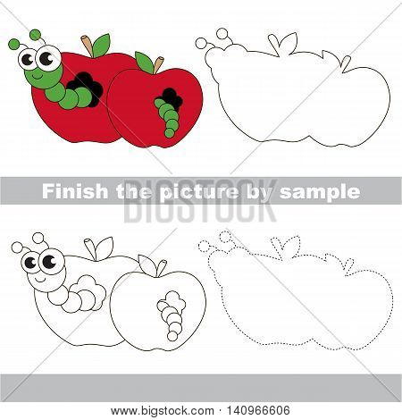 Drawing worksheet for children. Easy educational kid game. Simple level of difficulty. Finish the picture and draw the cute Apple worm