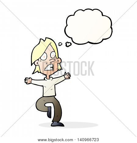 cartoon panicking man with thought bubble