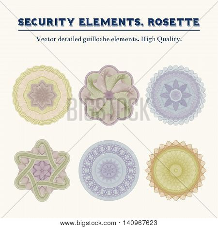 Security elements. Rosette. Vector detailed guilloche elements. High Quality. Colorful.