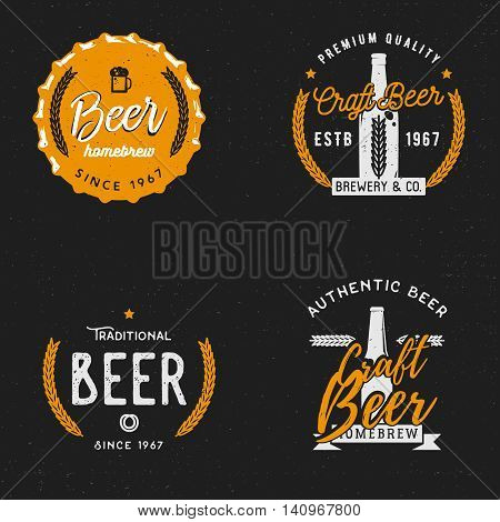 Beer themed badge in vintage style on dark background, beer related labels, logos, emblems, symbols, logo templates