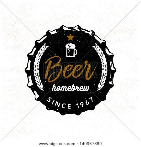 Beer badge stylized for beer lid. Vector illustration, typography design / t-shirt print / apparel design / logo for your project / brand.