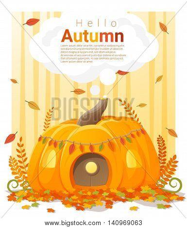 Hello autumn background with pumpkin house, vector , illustration