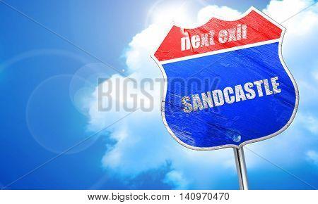 sandcastle, 3D rendering, blue street sign