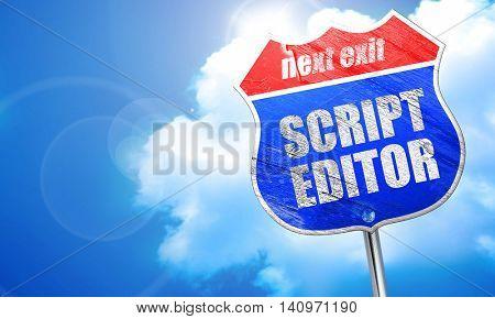script editor, 3D rendering, blue street sign
