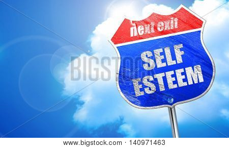 self esteem, 3D rendering, blue street sign