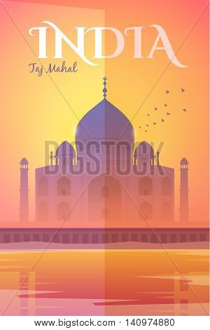 Vector retro poster. The Taj Mahal in the pink haze at sunset. Vacation in India. Travel poster. Flat design.