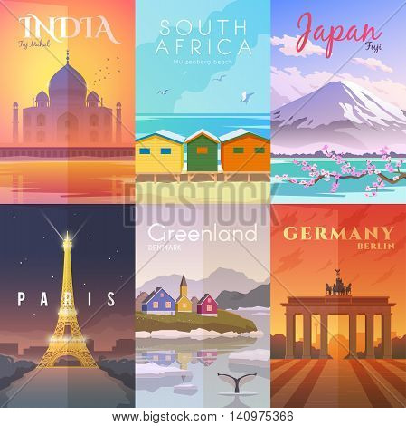 Vector retro posters set. Taj Mahal, India. Muizenberg beach, South Africa. Fuji, Japan. Paris France Greenland Denmark Berlin Germany