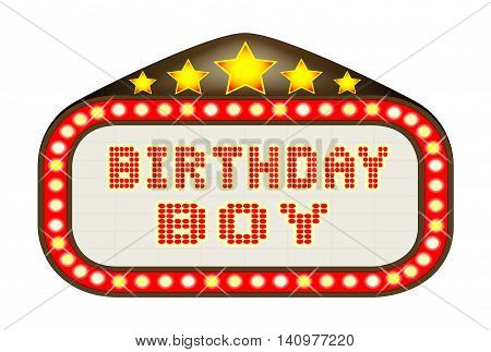 A Birthday Boy movie theatre or theatre marquee.