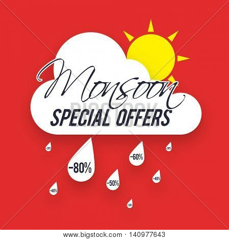 Monsoon Special Offers Sale with Discounts, Creative Poster, Banner or Flyer design with cloud, sun and raindrops.