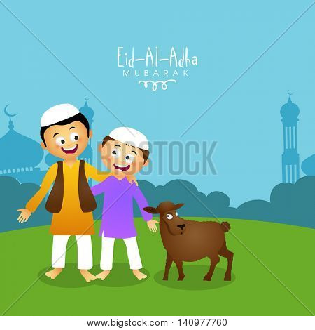 Cute Islamic Kids in Traditional Outfits with Sheep, Celebrating and Enjoying on occasion of Muslim Community, Festival of Sacrifice, Eid-Al-Adha Mubarak in front of Mosque.