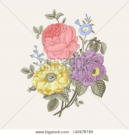 Floral card. Bouquet of roses dogrose and anemone. Vintage vector illustration. Classic. Pastel color.