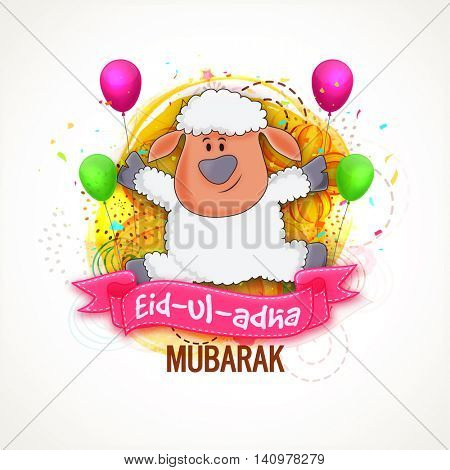Cute funny Baby Sheep with Eid-Ul-Adha Mubarak ribbon on balloons decorated, floral background for Muslim Community, Festival of Sacrifice Celebration.
