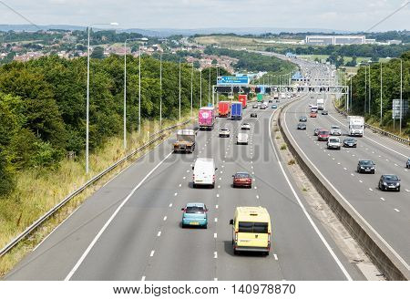 SELSTON ENGLAND - AUGUST 1: A 4-lane section of the M1 motorway looking North. In Selston Nottinghamshire England. On 1st August 2016.