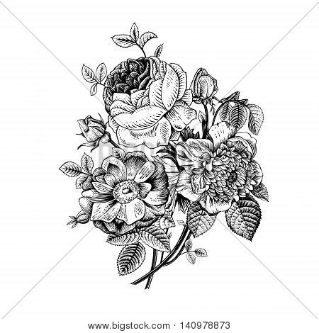 Floral card. Bouquet of roses dogrose and anemone. Vintage vector illustration. Classic. Black and white.
