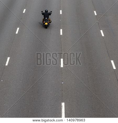 SELSTON ENGLAND - AUGUST 1: 2 Motorbike on the 4-lane section of the M1 motorway looking North. In Selston Nottinghamshire England. On 1st August 2016.