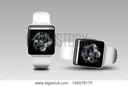 modern technology, science, object, responsive design and media concept - smart watches with polygonal shape projection on screen over gray background