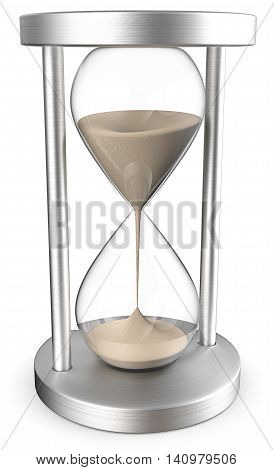 Sand Glass. 3D render of a Classic Hourglass of brushed Steel. Front View.