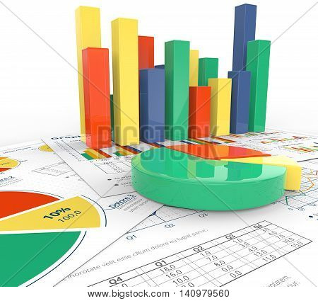 Analyze. Macro view. 3d illustration of Financial documents with colorful 3D graphs and pie charts.