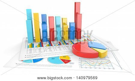 3D render of financial documents with colorful graphs and pie charts.