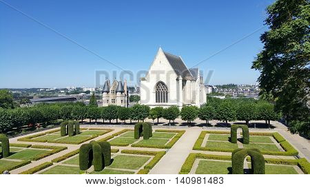 The interior gardens at the Castle of Angers and the Chapel, Angers, France