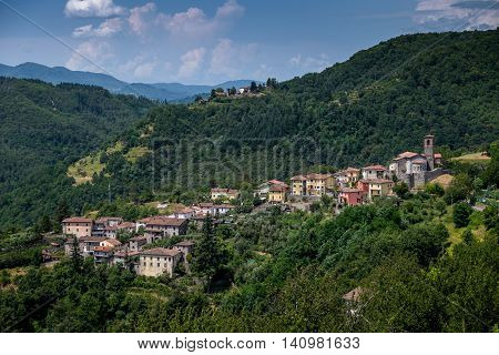 Garfagnana Tuscany Italy - ancient village of Ceserana view of the town with the medieval fortress