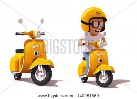 Detailed icons representing yellow retro scooter and scooter driver in helmet