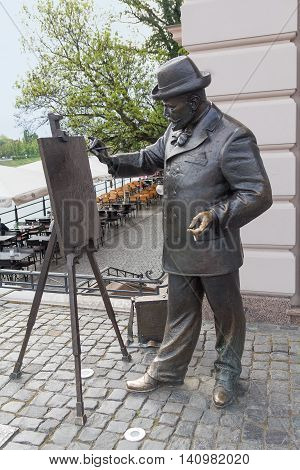Uzhgorod Ukraine - April 27 2016: Monument to the world-famous artist artist Ignatius Roshkovich on the waterfront