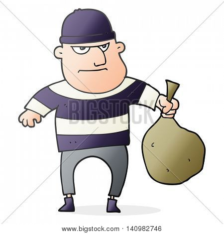 freehand drawn cartoon burglar with loot bag