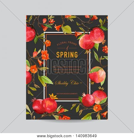 Tropical Pomegranate and Flowers Colorful Frame - for Invitation, Wedding, Baby Shower Card - in vector