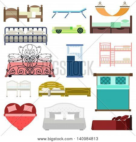 Vector bed icon set interior home rest. Double romantic travel motel collection bed vector sleep furniture icon. Bed vector house information hostel bedtime modern service sleep furniture.