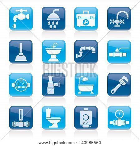 plumbing objects and tools equipment icons - vector icon set