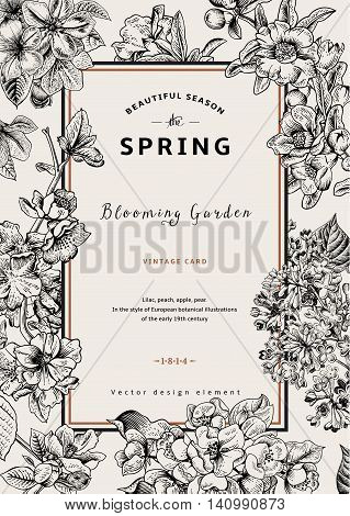 Vintage vector vertical card spring. Black and white blooming branches of lilac peach pear pomegranate apple tree.