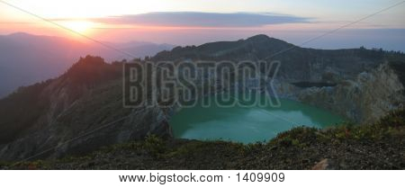 Sunrise On The Crater Lake, Kelimutu Volcano, Flores, Indonesia, Panorama