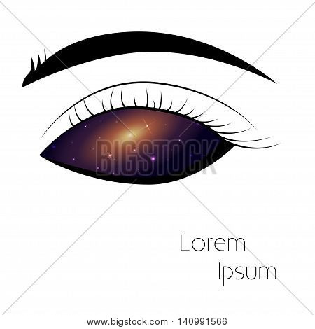 Starry sky in eye Eye pattern with space texture White backgrond