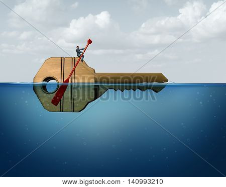 Solution management business concept as a leader businessman guiding and directing a giant key in the water as a metaphor for corporate guidance and direction strategy with 3D illustration elements.