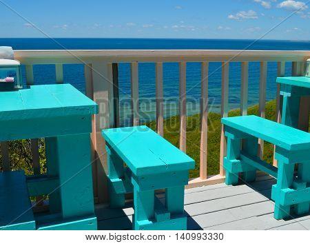 Deck dining overlooking the water on Martha's Vineyard, Aquinnah (Gay Head)